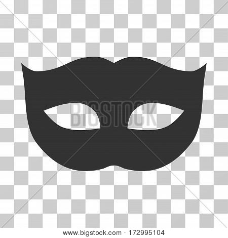 Privacy Mask vector pictograph. Illustration style is flat iconic gray symbol on a transparent background.