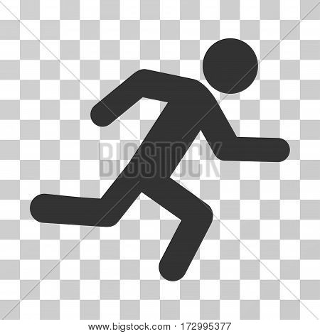 Running Man vector icon. Illustration style is flat iconic gray symbol on a transparent background.
