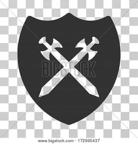 Security Shield vector pictograph. Illustration style is flat iconic gray symbol on a transparent background.