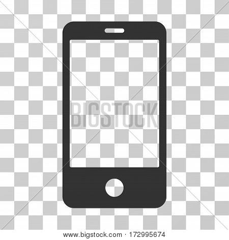 Smartphone vector pictogram. Illustration style is flat iconic gray symbol on a transparent background.