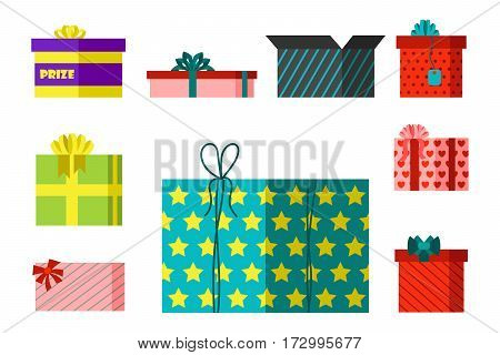 Gift box anniversary event satin greeting object with ribbon and bow isolated valentine paper package festive party shopping wrap vector illustration. Surprise elegance birthday present.
