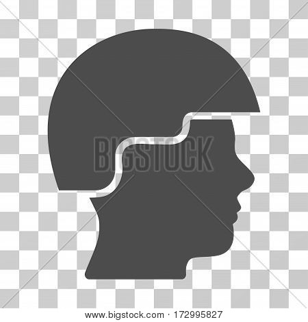 Soldier Helmet vector pictogram. Illustration style is flat iconic gray symbol on a transparent background.