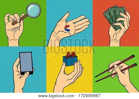 Pop art hands vector success expression idea. Vintage comic cartoon gesture person people. Stylized silhouette gesturing communication human.