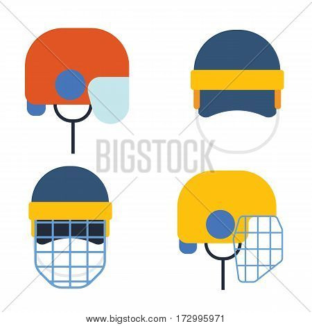 Classic recreational goaler hat goalkeeper hockey helmet with metal protect visor. Front and side view. Athlete attribution clothes equipment protection.