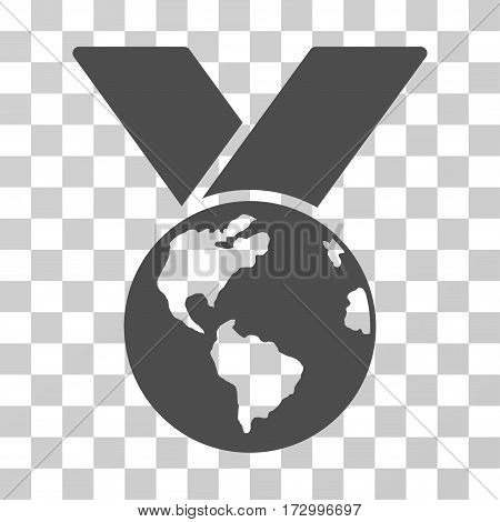 World Medal vector pictograph. Illustration style is flat iconic gray symbol on a transparent background.