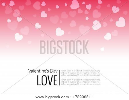 Beautiful valentine hearts vector background on red.