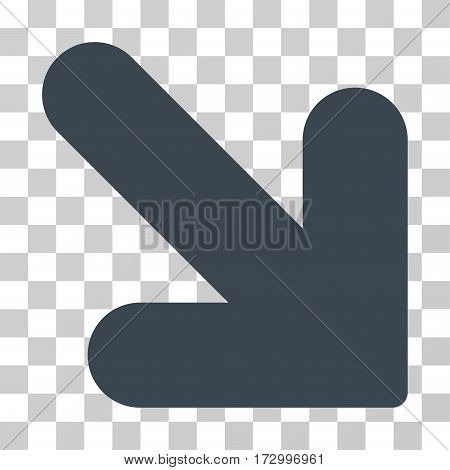 Arrow Down Right vector icon. Illustration style is flat iconic smooth blue symbol on a transparent background.