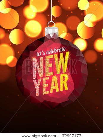 Happy New Year vector poster background. Greeting banner flyer design template. Christmas celebration invitation.
