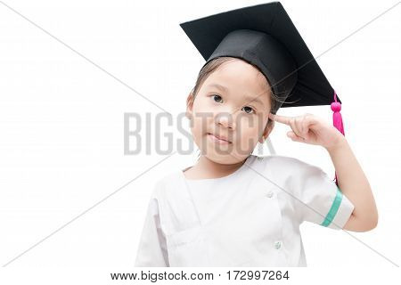 Asian School Kid Graduate Thinking With Graduation Cap