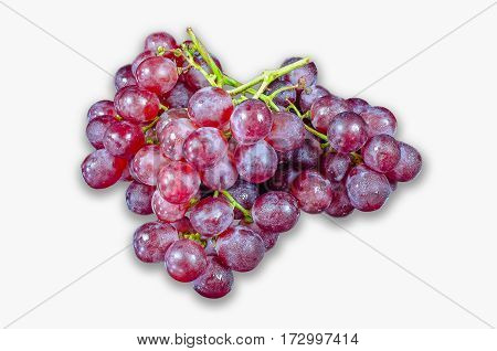 Grapes Red steam  dessert, food, fresh isoled white background