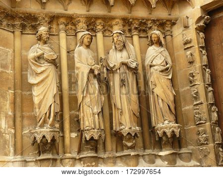 Cathedral gothic statues architecture middle age smile angels religion religion