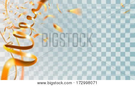 Colorful Golden serpentine, Confetti. Vector Festive Illustration of Falling Shiny Confetti Isolated on Transparent Checkered Background. Holiday Decorative