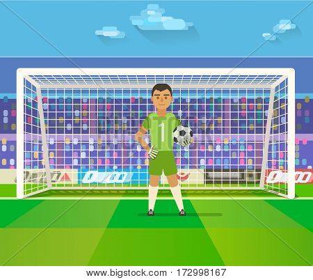 Soccer goalkeeper keeping goal on arena vector illustration. Flat. Football keeper in frame