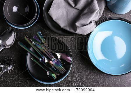 Dishware  on grey background