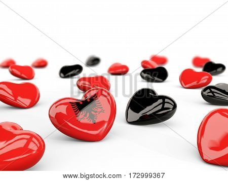 Heart With Flag Of Albania Isolated On White