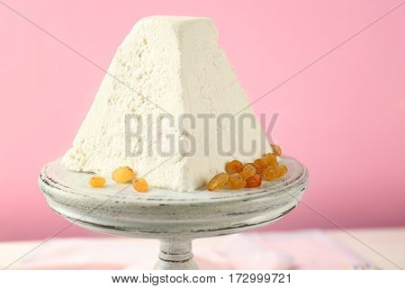 Dessert stand with traditional Easter curd cake, closeup