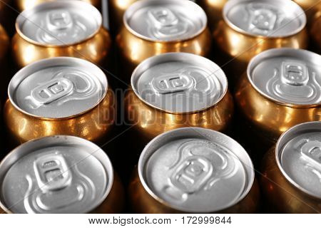 Cans of beer, closeup