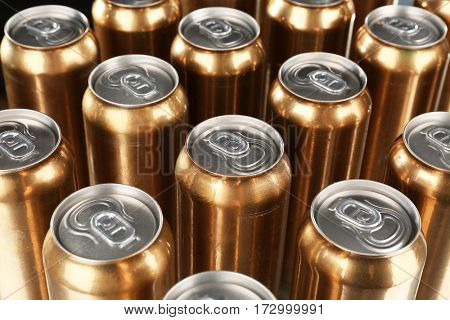 Cans of beer on table, closeup