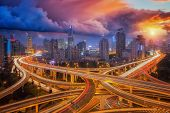 Cross junction super highway in shanghai city with sunset sky Shang hai China Asia poster