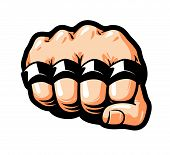 Clenched fist, knuckle duster. Gangster, thug, bandit symbol. Cartoon vector illustration isolated on white background poster