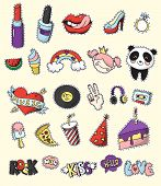 Colored and isolated fashion patch badge set cartoon and 80s 90s comic style vector illustration poster