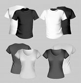 Vector illustration. T-shirt design template (men and women). Black and white. poster