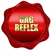 gag reflex, 3D rendering, red wax stamp with text poster