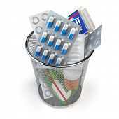 Pills, capsules and medicines thrown in the dustbin isolated on white. End of treatment or healthy lifestyle concept. 3d illustration poster