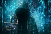 Computer hacker with hoodie in cyberspace surrounded by matrix code online internet security identity protection and privacy poster