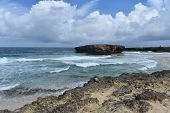 Gorgeous view of the deserted remote beach at Boca Keto in Aruba. poster