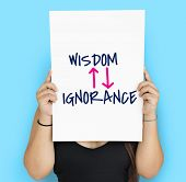 Proficiency Antonyms Wisdom Ignorance Illustration poster