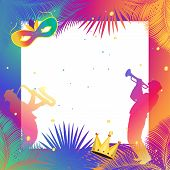 Happy Carnival, Music Festival, Masquerade poster frame, invitation Holiday Kids party festive background design with musicians, mask, crown, confetti, carnival symbols, tropical palm tree leaves frame. Vector illustration. Rio de Janeiro Brazil. Barranqu poster