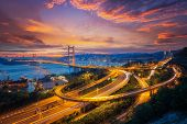 Tsing ma bridge link between airport and Hong kong city main transportation in Hongkong China. poster