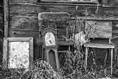 An old grandfathers' clock mirror and old chairs abandoned outdoors in tall weeds in black and white poster