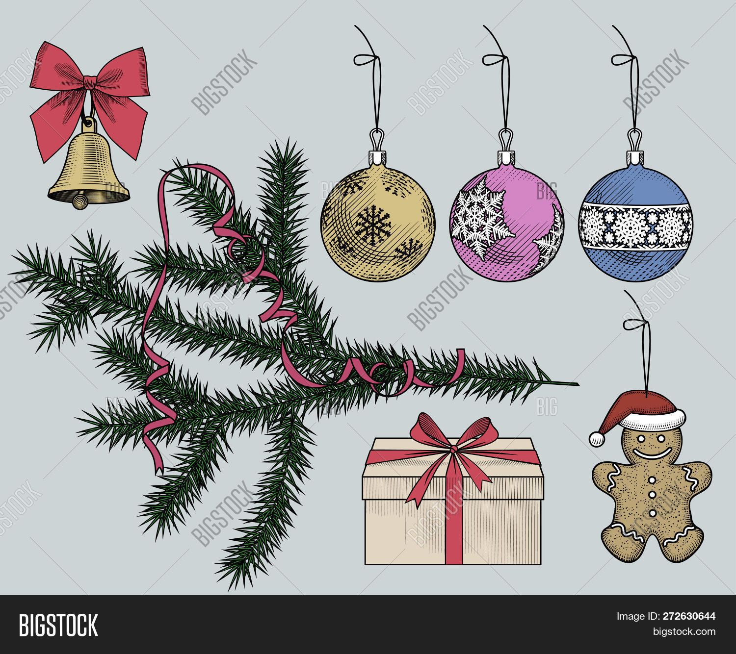 Drawings Of Christmas Ornaments.Set Christmas Image Photo Free Trial Bigstock