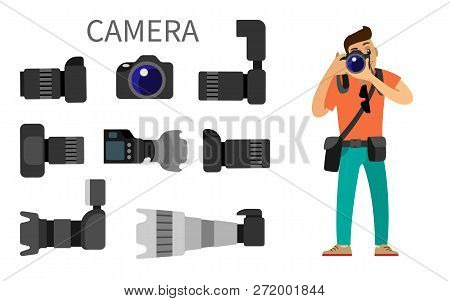 Photographer And Gear With Flash And Zoom Function, Photojournalist And Photographing Equipment. Hig