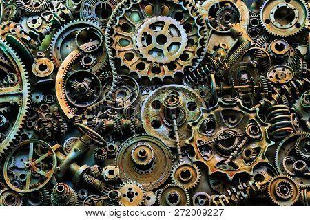 Steampunk Texture, Backgroung With Mechanical Parts, Gear Wheels, Steam Punk Cogwheels, Heap Of Auto