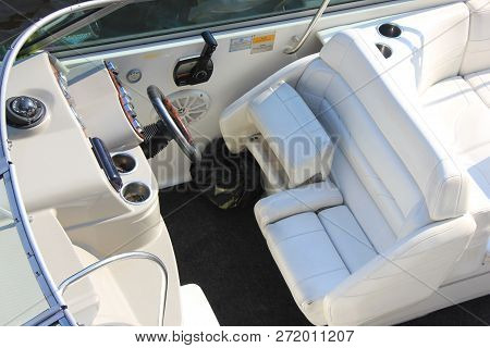 St. Petersburg, Russia - July 26, 2018: Luxury Interior Of Yacht And Cruise Boat With White Leather