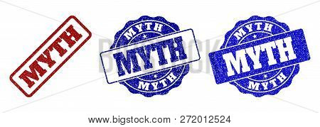 Myth Scratched Stamp Seals In Red And Blue Colors. Vector Myth Watermarks With Distress Style. Graph