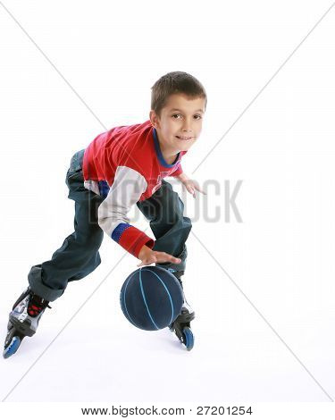 Boy Playing Ball On The Roller-skates