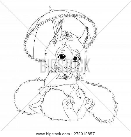 Pretty Smile Squirrel Girl With A Umbrella In A Dress. Vector Contuor Scetch Illustration. Eps 10