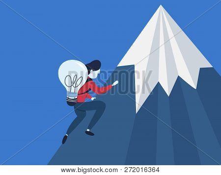 Businessman With Idea Climb On The Mountain