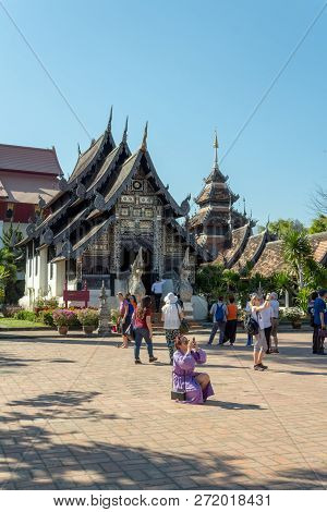 Chiang Mai, Thailand - January 31, 2018: Tourists Visiting Wat Chedi Luang, One Of The Most Famous T