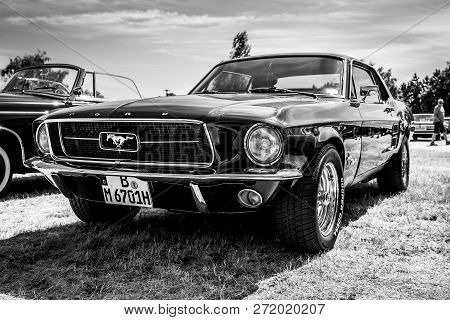Paaren Im Glien, Germany - May 19, 2018: Iconic American Car Ford Mustang (first Generation). Black