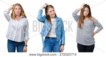 Collage of group of three beautiful women over white isolated background confuse and wonder about question. Uncertain with doubt, thinking with hand on head. Pensive concept.