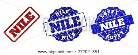 Nile Grunge Stamp Seals In Red And Blue Colors. Vector Nile Watermarks With Dirty Style. Graphic Ele