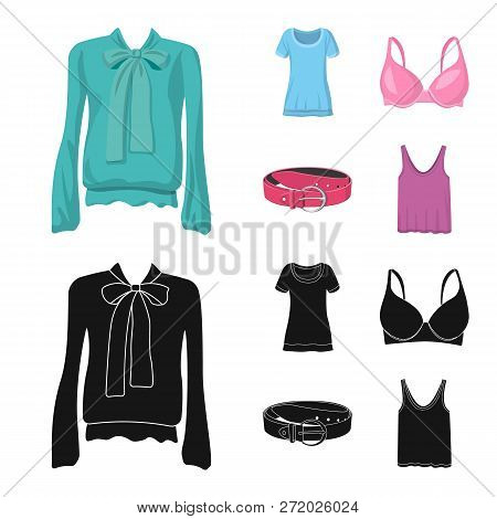 Vector Illustration Of Woman And Clothing Symbol. Collection Of Woman And Wear Stock Vector Illustra