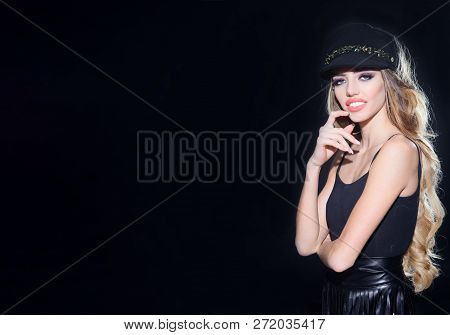 Beauty Model. Fashion Accessories. Fashion Modern Girl With Long Hair In Cap. Fashion Model Woman In