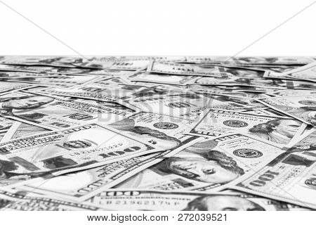 Stack Of One Hundred Dollar Bills Isolated On White Background. Stack Of Cash Money In Hundred Dolla