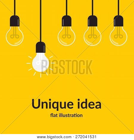 Unique Idea. Bright Idea And Insight Concept With Light Bulb, Isolated On Yellow Background, Creativ
